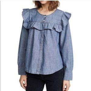 Madewell Chambray Ruffle blouse